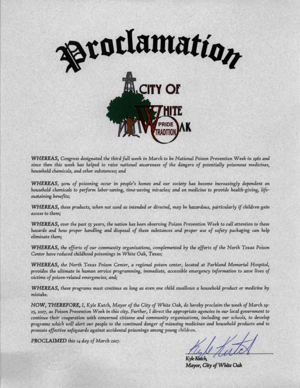 Poison Prevention Week Proclamation